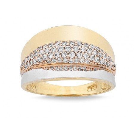 9ct Three Tone Gold Cubic Zirconia Ring.  Sku: BC470010