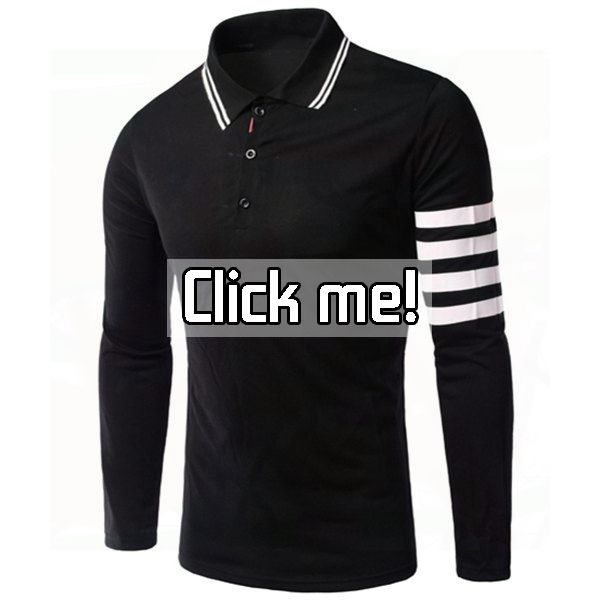 Slimming Stripe Long Sleeves Polo T-Shirt For Men    Price: $17.78.