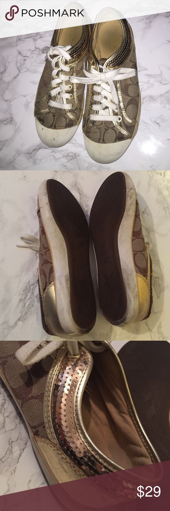 Coach Tennis Shoes - Brown & Gold sequin! - size 8 Coach Tennis Shoes - Brown & Gold sequin! - size 8 -- have been worn frequently and price reflects condition :) They could use a wipe off but I haven't attempted! 100% authentic! Coach Shoes Athletic Shoes
