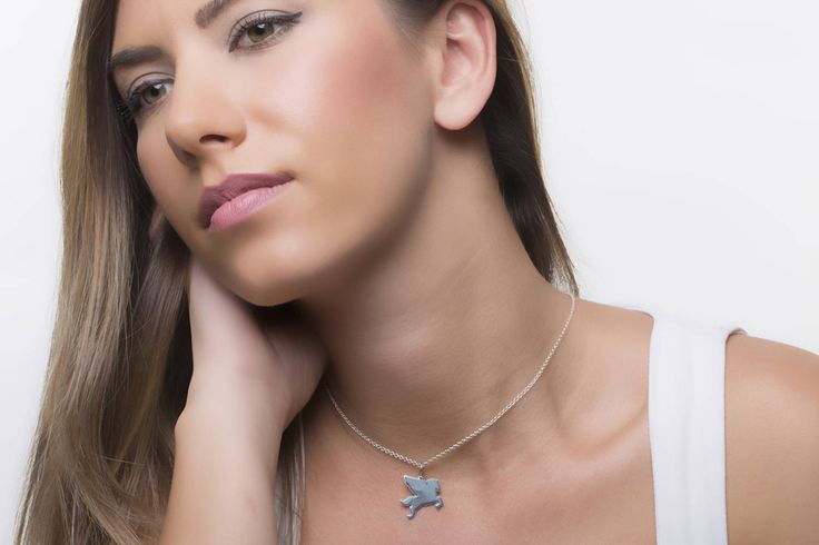 Pegasus necklace, flying horse, silver Pegasus wings, fairy jewelry, silver pendant flat, titanium necklace, blue titanium, gift for girl by largentolab on Etsy