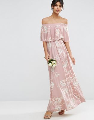ASOS WEDDING Off Shoulder Frill Maxi Dress in Print, boho bridesmaids dress