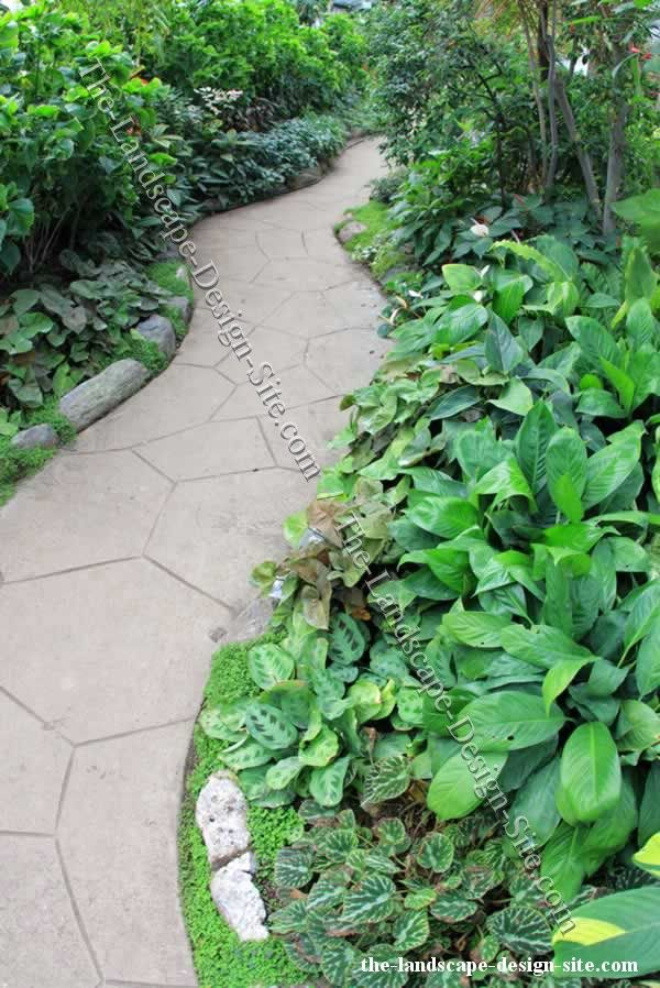 Etched Or Stenciled Concrete Garden Path Ideas. There are so many possibilities for making a concrete path attractive.