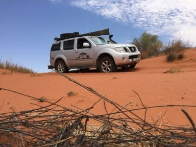 Jan Nieuwenhuizen in his 2012 Nissan Pathfinder 2.5D LE on the Red Dunes 4x4 trail at Loch Maree Guest Farm. Check out the April issue of SA4x4 for more.