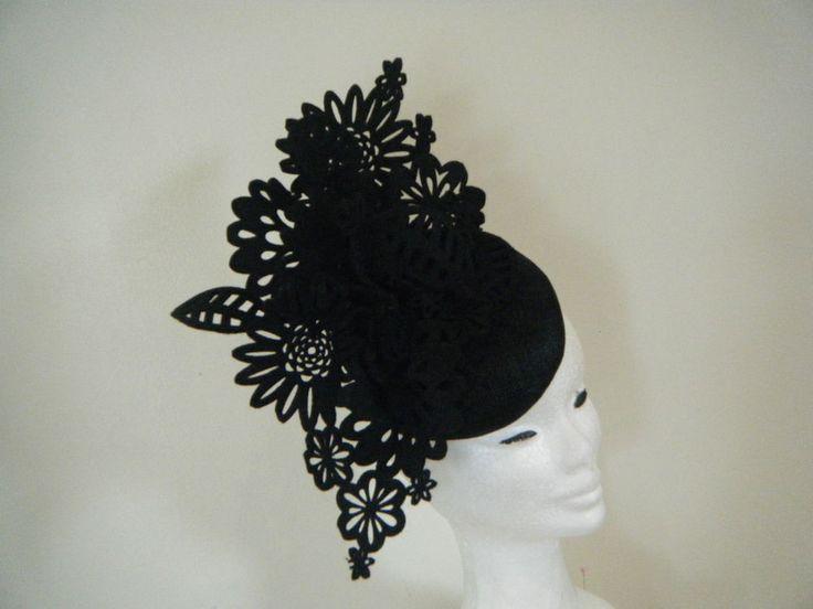 Hatinator Fascinator Spring Racing Wedding Headpiece Black felt lace