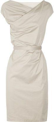 ShopStyle: Jil Sander Belted stretch-cotton dress