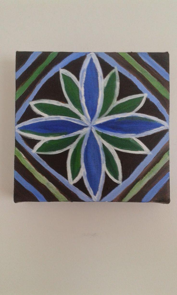 My Pasifika flower treatment by Helen Tau'au Filisi. Acrylics on canvase (c) 2014
