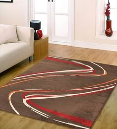 Ambadi Coffee Brown & Red Abstract European Rug