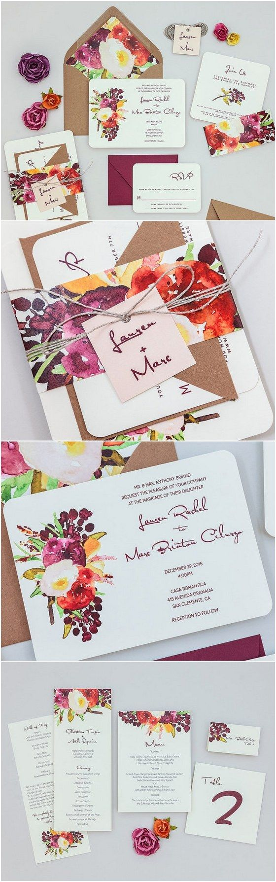 deep red watercolor wedding invitation sets / http://www.deerpearlflowers.com/29-watercolor-wedding-invitations/