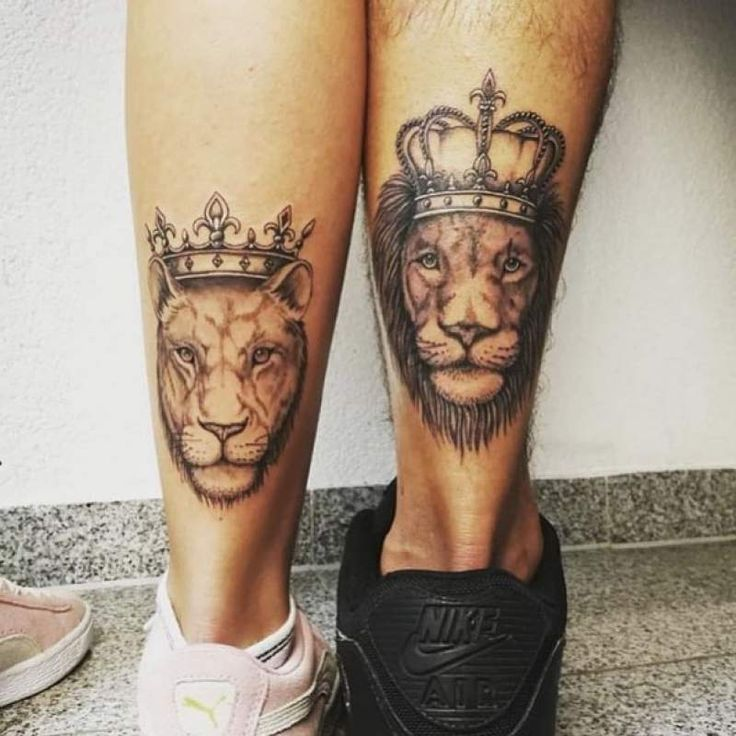 Couples Matching Tattoos for Valentines Day  #shintattoo #lion #liontattoo #tatt…