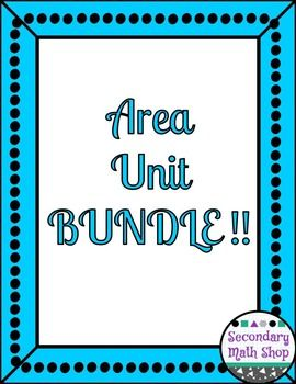 Geometry Area Unit BUNDLE!!!This is a Money Saving Bundle of my  Best Selling Unit on Area. ***NOTE:  This unit is still growing - there will be another set of notes (area of regular polygons), a set of task cards and a unit review coming.  Buy now at a lower price and get the new things for free as they are added***Included you will find:  Unit Ten:  Area of Parallelograms and Regular Polygons Vocabulary Assignment and PuzzlesUnit Ten:  Area of Parallelograms and Regular Polygons Vocabulary…
