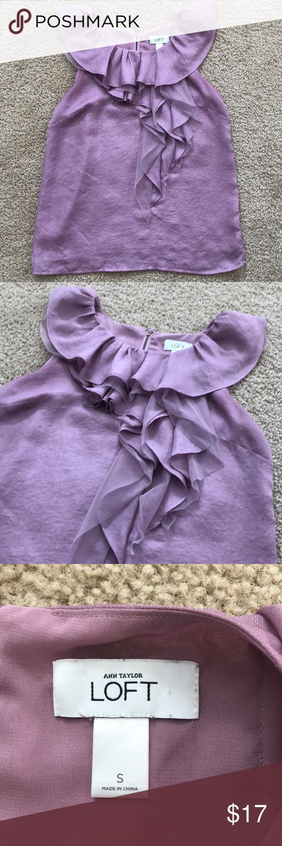 Ann Taylor LOFT Ruffled Tank Top This adorable purple tank top has ruffles in the front and a zipper in the back. Great condition! Ann Taylor Tops Tank Tops
