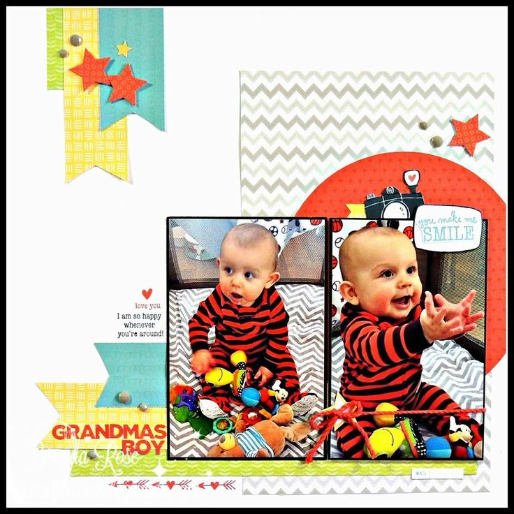 Grandma's Boy: Single page scrapbook layout using the Close To My Heart Share the Love stamp set & paper fundamentals