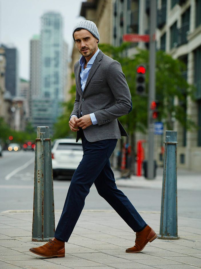 #chambray#shirt#grey#jacket#navy#trousers#casual#elegance#look