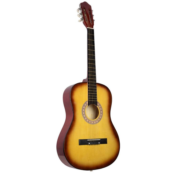 Super buy Acoustic Guitar W/Guitar Case Strap Tuner Pick For New Beginners Yellow. Material: TOP: basswood Plywood Back & Side: Catalpa Plywood Fingerboard: Rosewood. 38 inch fillet guitar. Perfect for beginners. Full wood construction.