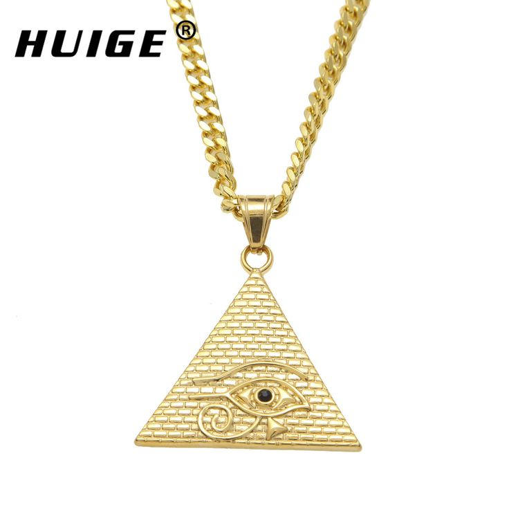 "Ancient Egyptian Pyramid Eye Of Horus Pendant Necklace Hip Hop Illuminati Necklace with 27.5""inch Miami Cuban Curb Chain #Affiliate"