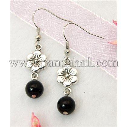 Glass /& Tibetan Bead Hook or 925 Silver Glow in Dark Earrings Studs Clip On