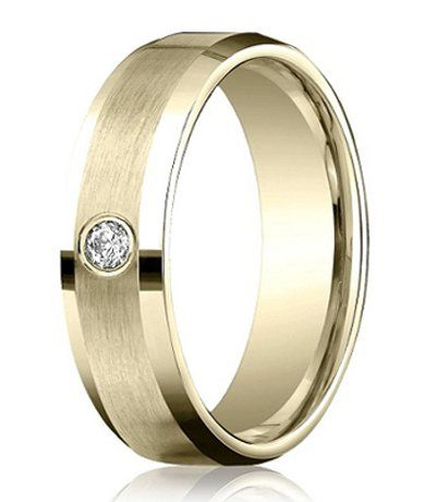 Men's 14K Yellow Gold Diamond Band with Satin Finish - A single round diamond is the focal point on this satin finished 14K yellow gold ring, which is accented by polished beveled edges. One of our latest designer men's eternity rings, this 4mm comfort fit ring exudes good taste and style!