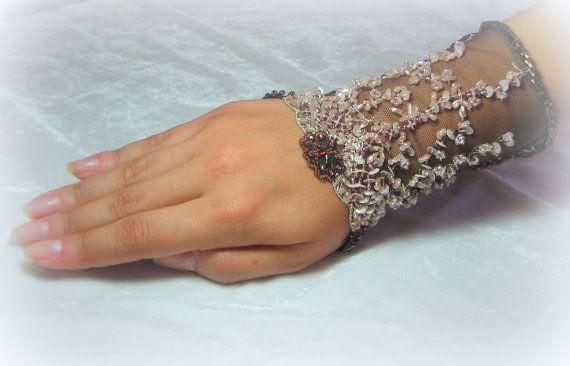OOAK Hand Beaded Lace Cuff in Bronze & Ivory by YovankaBlack