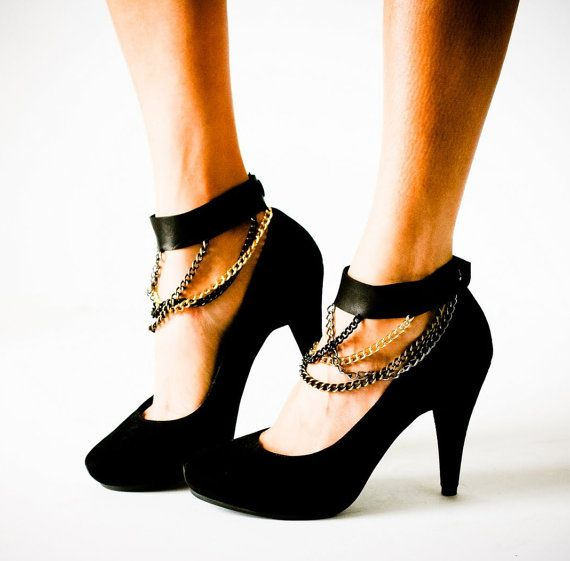 Black Leather Chain Ankle Cuffs - $59.00