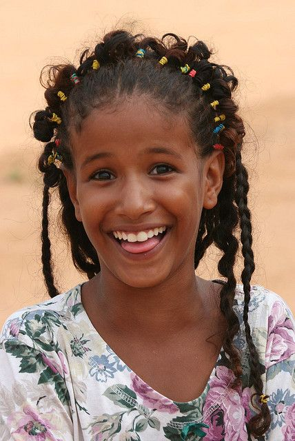 Happy Girl in Bareina, a small bedouin village in the south of Mauritanie, West Africa.