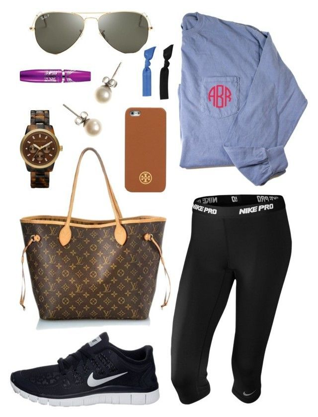 """""""2 hour delay!"""" by lyanders ❤️ liked on Polyvore featuring Louis Vuitton, NIKE, J.Crew, MICHAEL Michael Kors, Ray-Ban, Tory Burch, Maybelline and Splendid"""