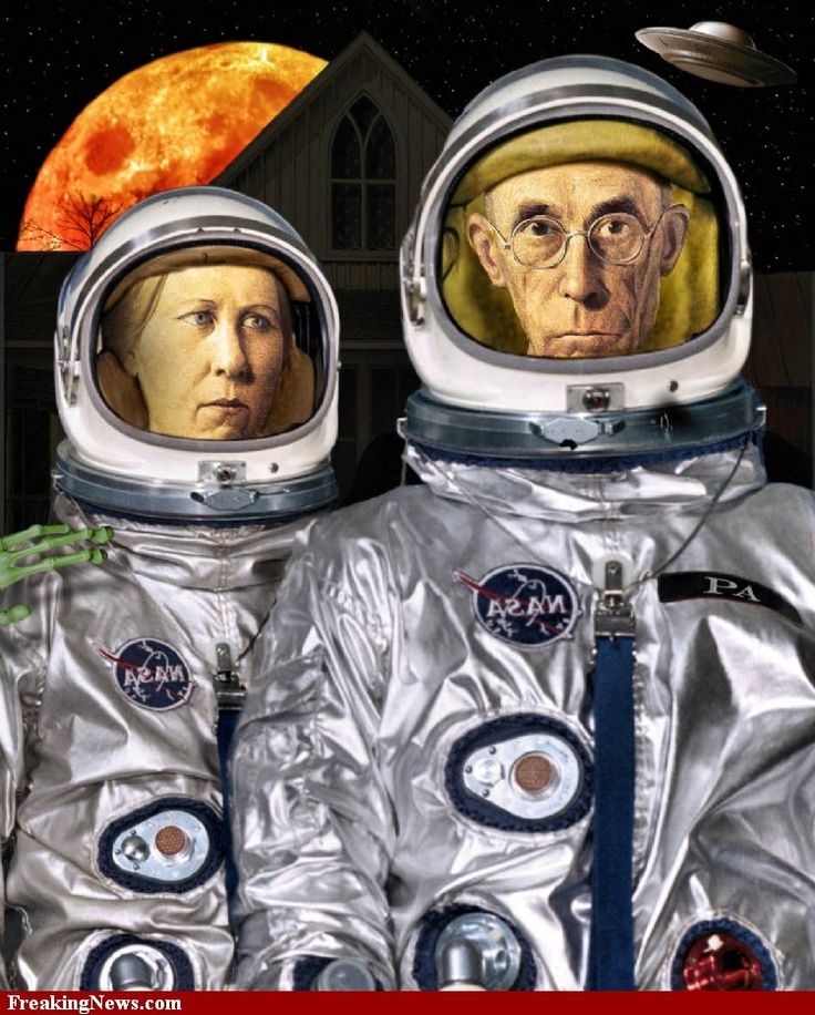 American Gothic In Space, pop art, collage art.