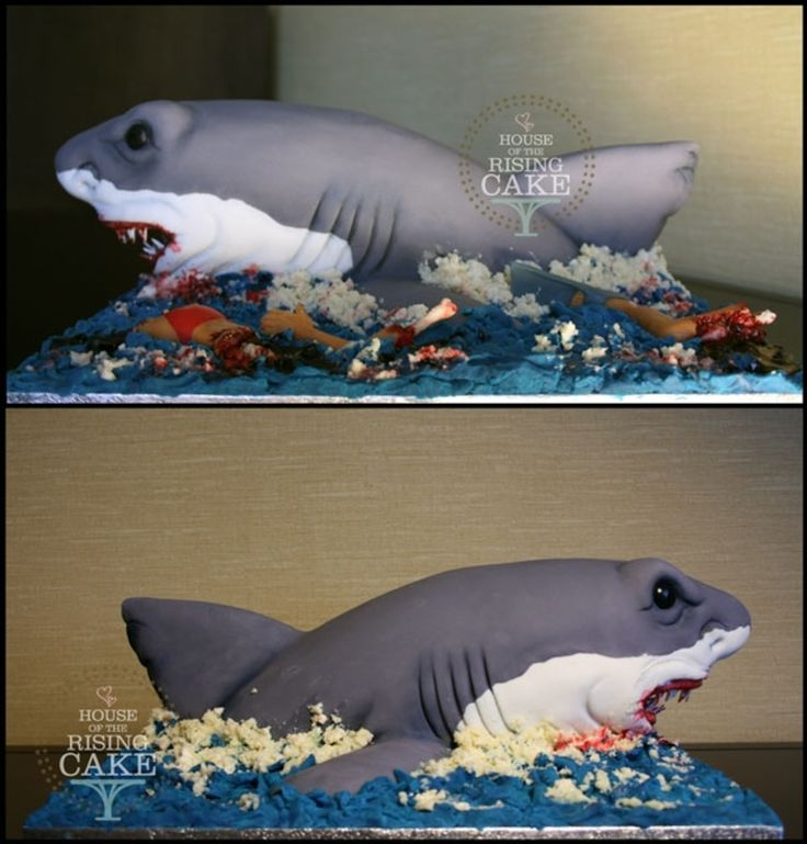 Shark attack cake with a morbid, body parts design - yet any teen boy would think this was awesome