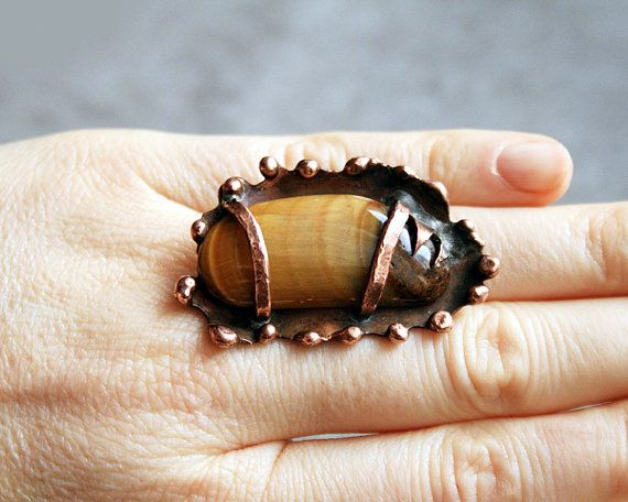 copper ring tiger eye ring statement ring by Blacksmithworkshop