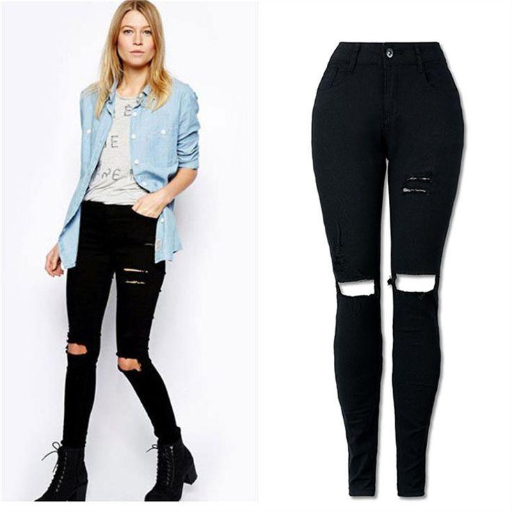 High Waist Skinny Long Hole Jeans