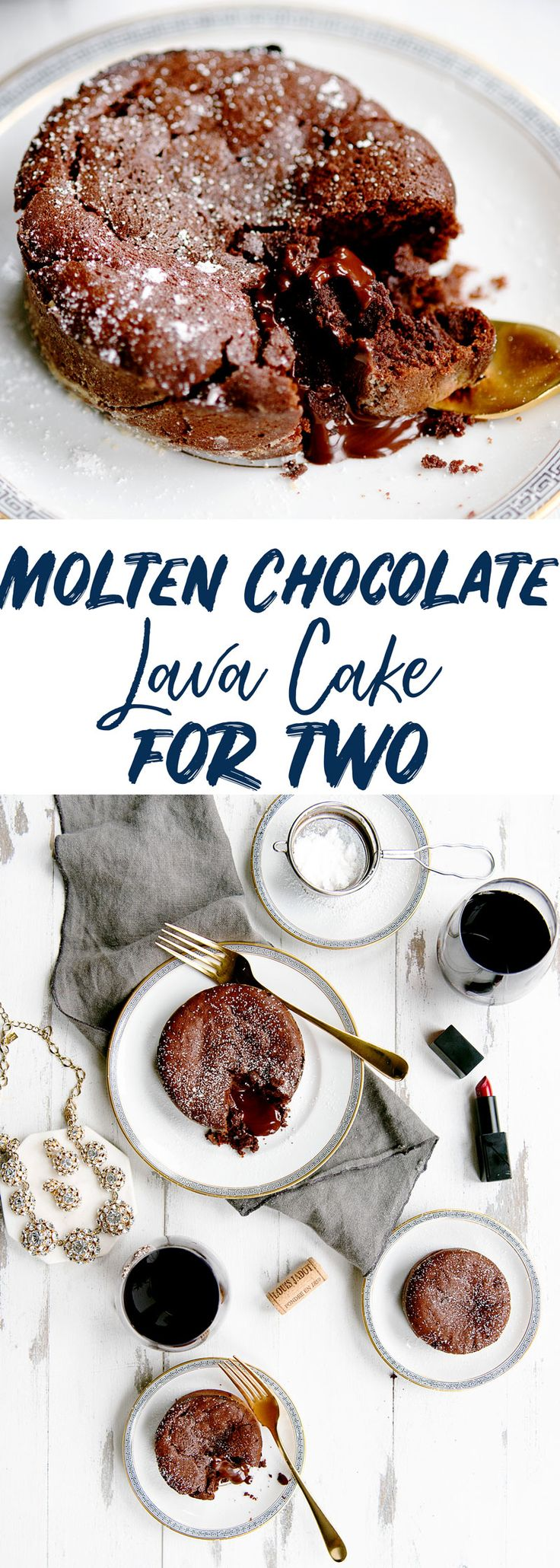 Molten Chocolate Lava Cake Recipe - Valentine's Day Dessert for Two #valentine #chocolate #lavacake