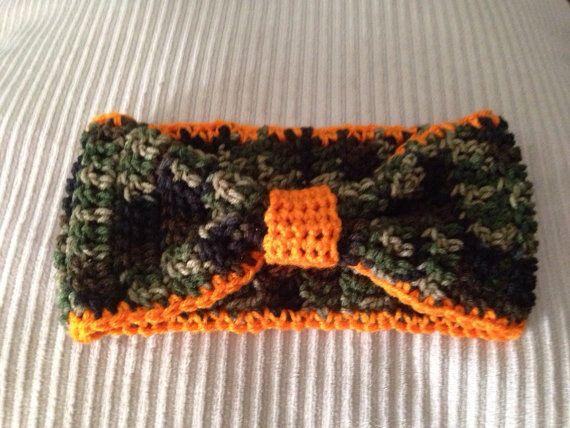 Headband crochet camo orange  on Etsy, $10.00