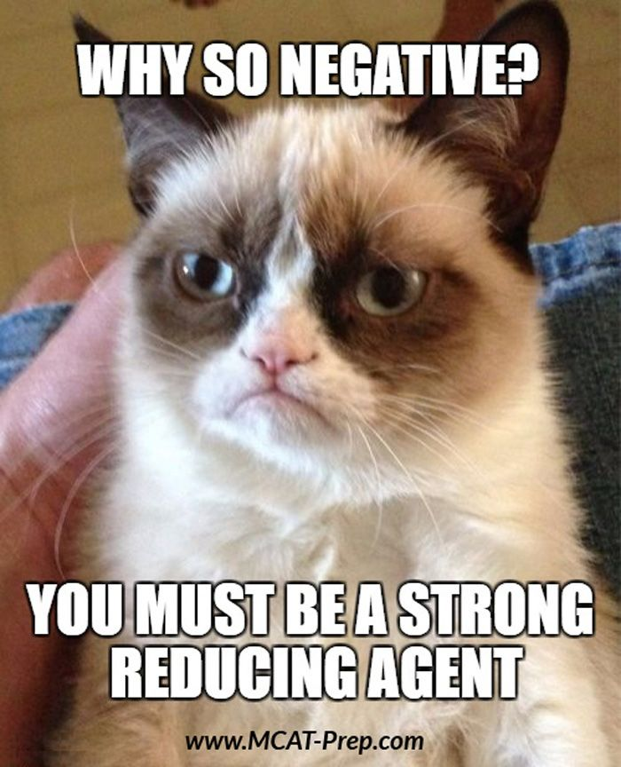 MCAT General Chemistry tip: Strong reducing agents have large negative reduction potentials; strong oxidizing agents have large positive reduction potentials. The more positive the reduction potential, the more likely the reaction will occur spontaneously as written.