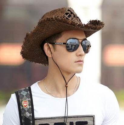 Cool mens straw cowboy hats UV protection beach wear