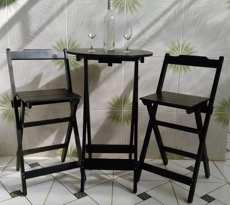 mesa alta bistro com 2 banquetas em madeira dobravel