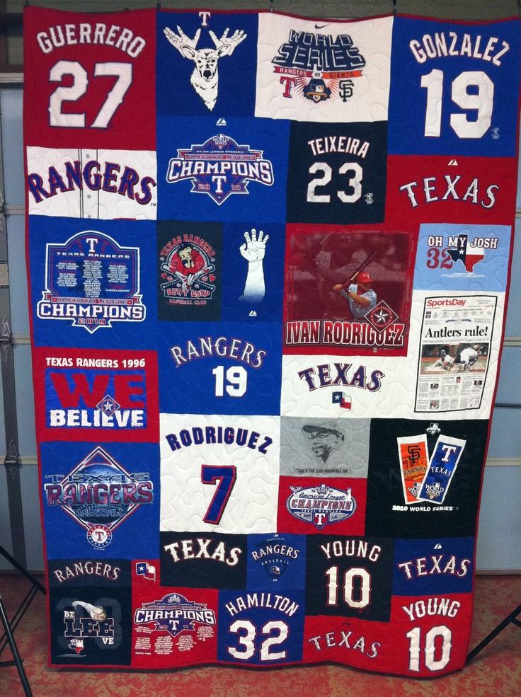 Texas Rangers T-shirt Quilt  www.sheezabizzyquilter.etsy.com