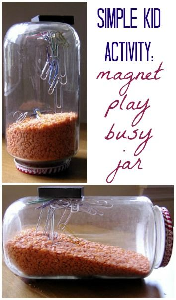 Keep your kids busy with a simple magnet play jar. Sometimes simple is best! Via What Do We Do All Day?