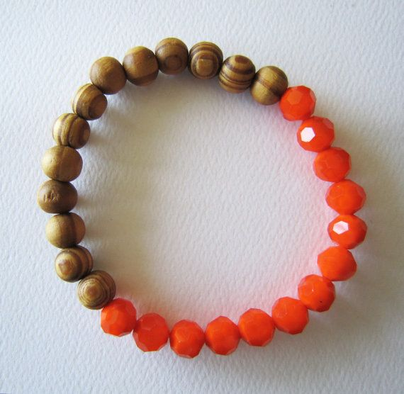 Stretchy Beaded bracelet  Wooden/Glass beads by MITCHandMOODI, $12.00
