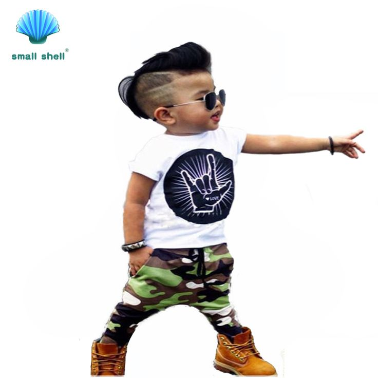 small shell 2016 summer style children kids clothing sets baby girls boys clothes suits Handsome camouflage 2PCS F0052