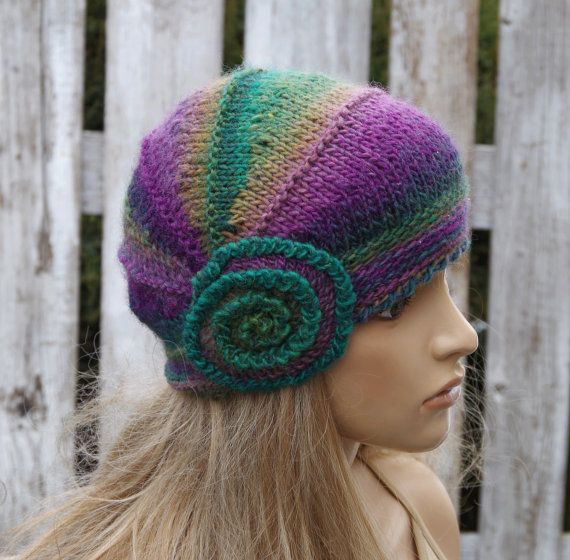 Knitted flower hat Purple Knitted Beanie Shadows purple green Women's Knitted Outerwear Women  Adult Teen  Comfortable Freeform crochet