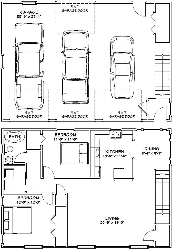 49 best garage apartment plans images on pinterest for Barn plans with living area