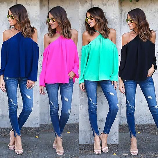 Classic off the shoulder chiffon loose blouse