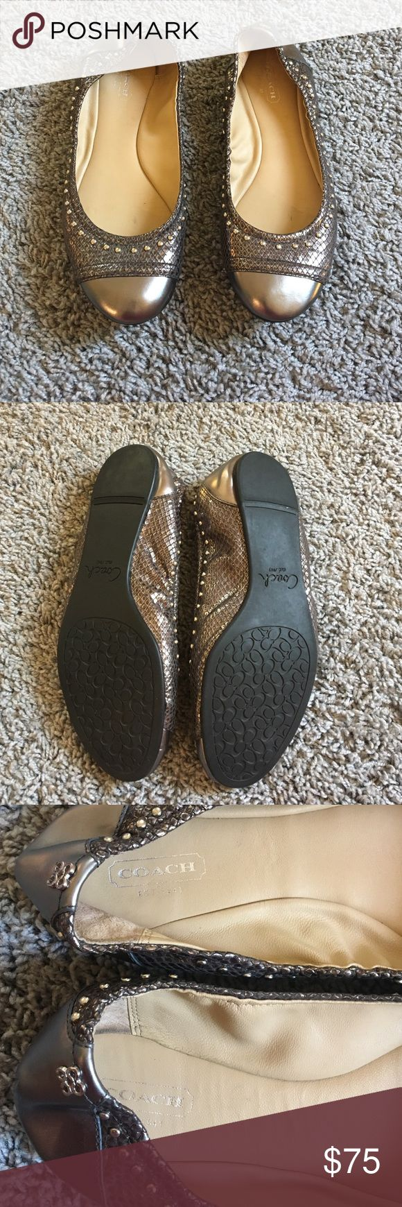 Silver Coach Flats Worn only once. Super cute to dress up or down. Practically new looking, no scratches. Bought at the coach store Coach Shoes Flats & Loafers
