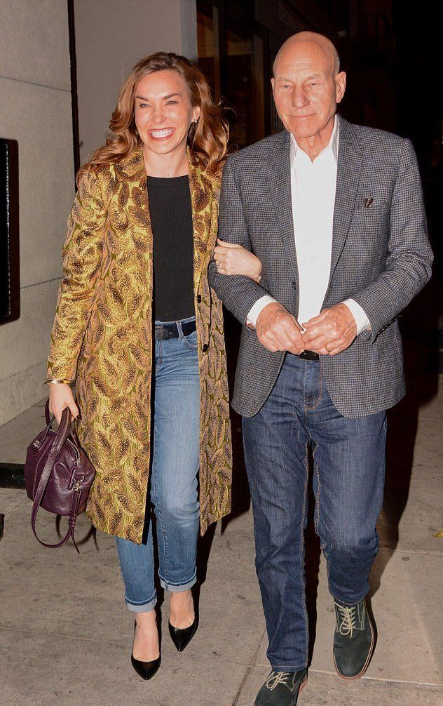 Actor Patrick Stewart And His Wife Sunny Ozell, 39, Look besotted As They Walk Arm-In-Arm Following Romantic Dinner Date