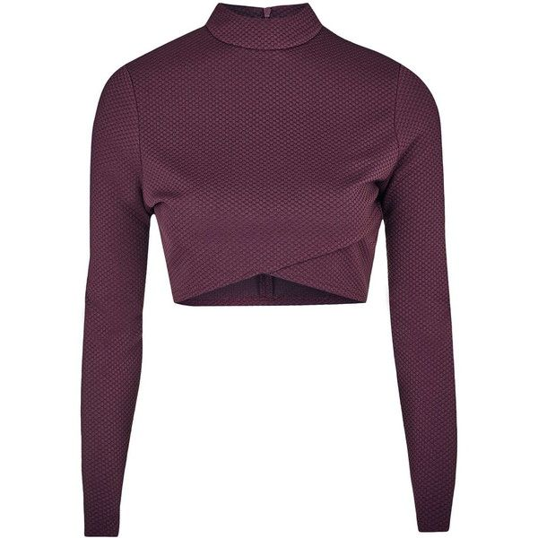 TOPSHOP **Tara Cross Front Crop Top by AnotherEight (€39) ❤ liked on Polyvore featuring tops, burgandy, purple crop top, high neck top, crossover front top, cross front crop top and high neckline tops