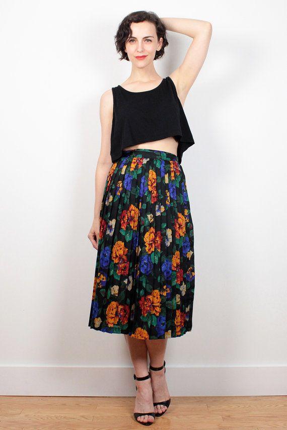 Vintage 80s Skirt High Waisted Skirt Black Rainbow Floral Print Midi Skirt 1980s…