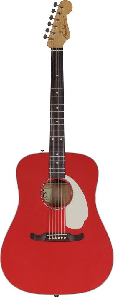FENDER Custom shop kingman fiesta red + etui - Guitares électro acoustiques - Folk électro | Woodbrass.com