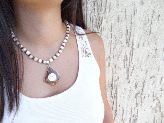 MOTHER of PEARL Necklace Wedding Necklace  Sterling Silver #necklace #for #wedding #fashion