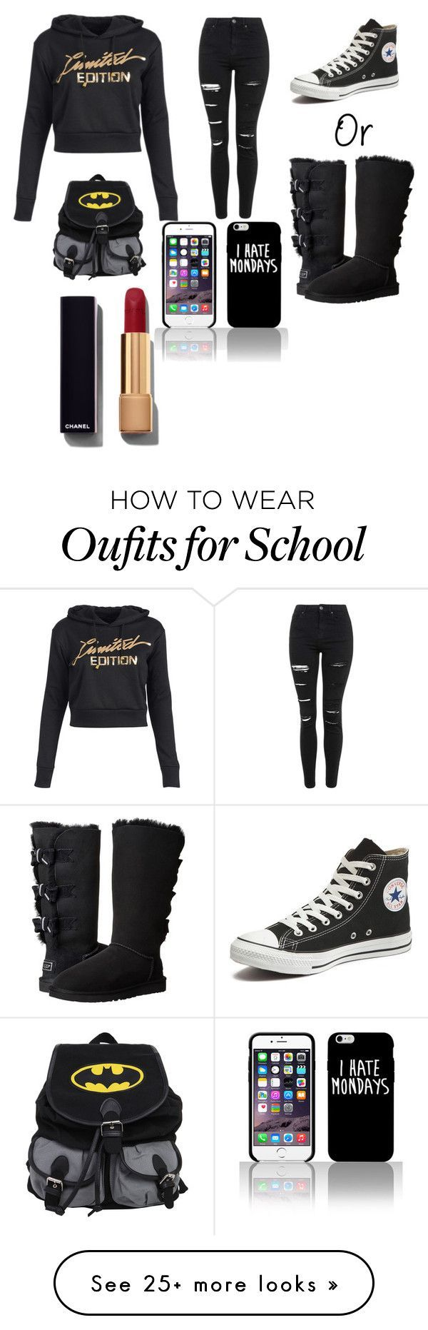 """School Outfit\\Tuesday"" by queenhalie on Polyvore featuring Topshop, Converse, UGG Australia, Chanel, women's clothing, women's fashion, women, female, woman and misses"
