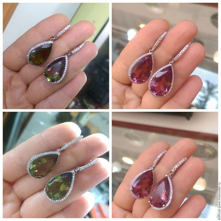Купить Серьги-капли из серебра с султанитом - разноцветный, султанит, серьги с султанитом, диаспор, султанит в серебре