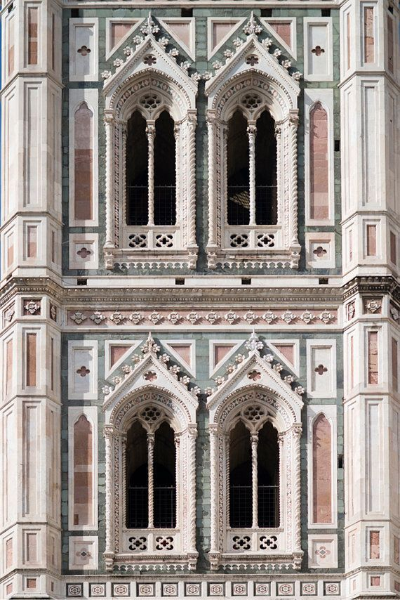 Italy - Detail of Giotto's bell tower Florence Cathedral - il Duomo - Santa Maria del Fiore